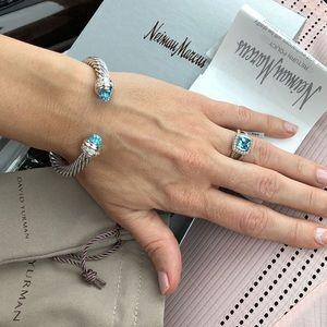 David Yurman silver blue ring size: 6